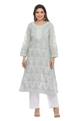 Grey Embroidered Cotton Chikankari Kurti