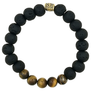 Black & Brown D'Vine 8Mm Lava Stone Hand Evil Eye Healing Yoga Beads Strand Bracelet For Women, Men, Girls, Boys