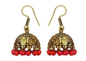 Golden Oxidised Earring