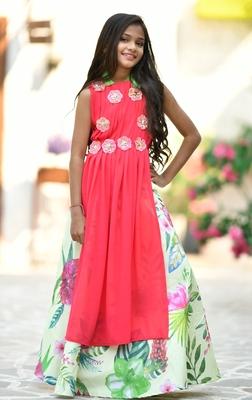 Pink printed georgette kids-girl lehenga