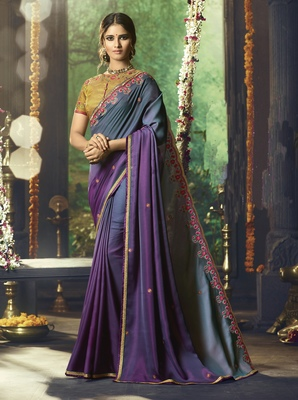 Violet Embroidered Silk Blend Saree With Blouse