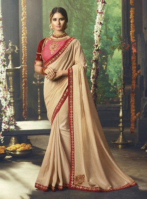 Chiku Embroidered Silk Blend Saree With Blouse