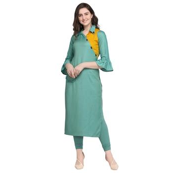 Turquoise hand woven rayon kurtas-and-kurtis