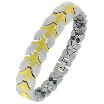 Energy Jewellery Golden Magnetic Therapy Double Tone Plating Metal Chain Bracelet For Men/Women
