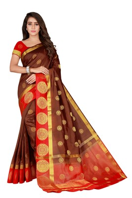 Brown woven silk blend saree with blouse