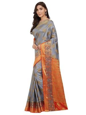 Grey woven faux kanjivaram silk saree with blouse