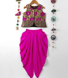Pink printed polyester top with dhoti for girls