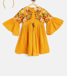 Yellow printed pure cotton kids frock