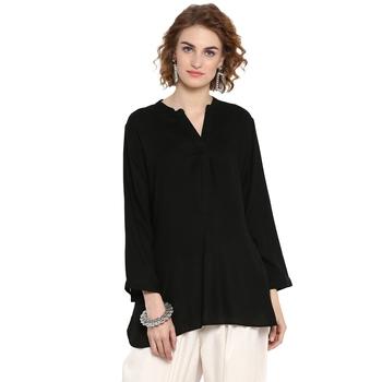 Black plain rayon tops
