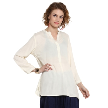 Off-white plain rayon tops