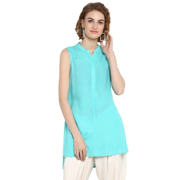 Aqua-blue plain rayon tops