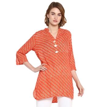 Orange printed rayon tops