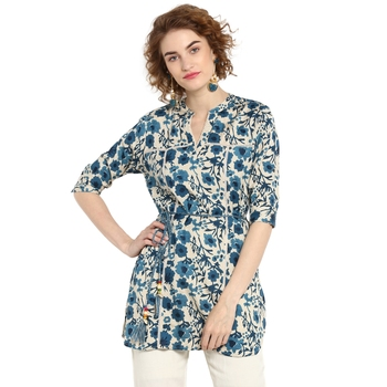 Navy-blue printed rayon tops