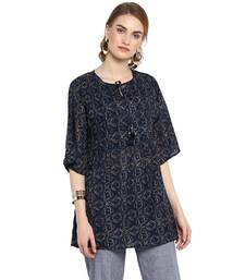 544f042436e Navy-blue printed cotton tops
