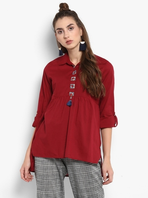 Red plain cotton tops