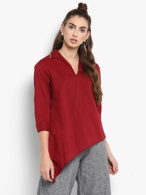 Red plain cotton tops