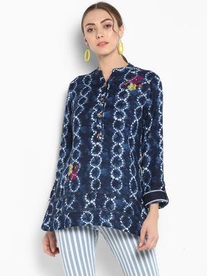 Blue printed linen tops