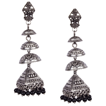 Silver Oxidised Four Leyer With Black Beaded Earring For Women & Girls