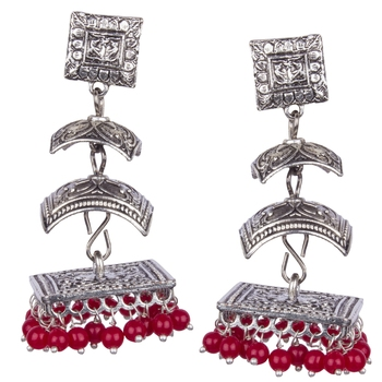 Silver Oxidised Three Leyer With Red Beaded Earring For Women & Girls