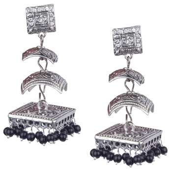 Silver Oxidised Two Leyer With Black Beaded Earring For Women & Girls