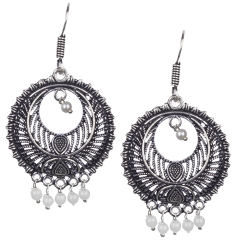 Stunning Oxidised Silver Round Shape And White Beads Dangling Earring For Women & Girls