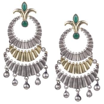 Pleasing Oxidised Silver Two Layer Green Beaded Dangling Earring For Women & Girls