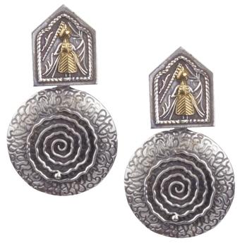 Angetic Ancient  Look Oxidised Silver Earrings For Women & Girls