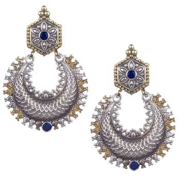Appealing Oxidised Silver Blue Beaded Earring  For Women & Girl