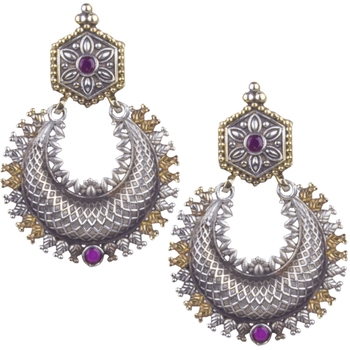 Appealing Oxidised Silver Pink Beaded Earring  For Women & Girl