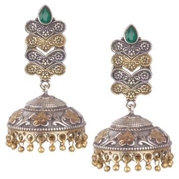 Graceful Oxidised Silver Green Beaded Long Jhumkhi For Women & Girls