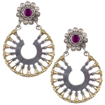 Sublime Oxidised Silver Round Shape & Pink Beaded Dangling Earring For Women & Girls