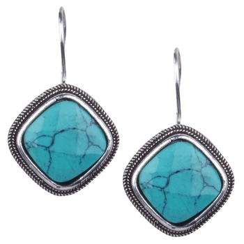 Symmetrical Oxidised Silver With Sky Blue Stone Dangling Earring For Women & Girls