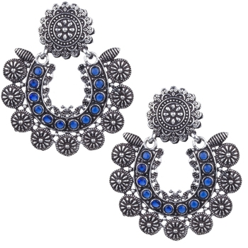 Angetic Silver Oxidised Blue Beaded Stylish Earring For Women & Girls