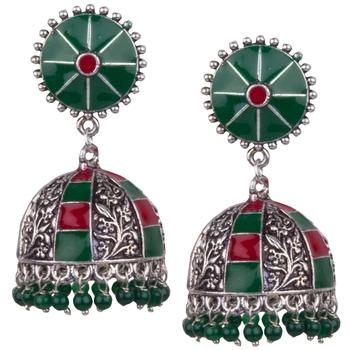 Elegant Oxidised Silver With Red & Green Minakari Beaded Brass Jhumkhi For Women & Girls