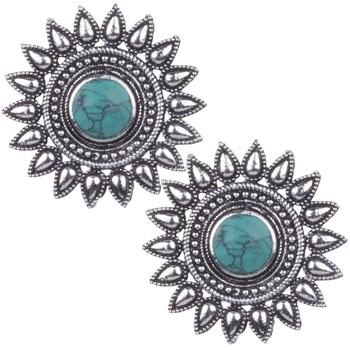 Foxy  Oxidised Silver Round Shape Green Turquoise Stone Stud Earring For Women & Girls