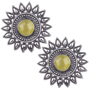 Comely Oxidised Silver Yellow Turquoise Stone Brass Stud Earring For Women & Girls