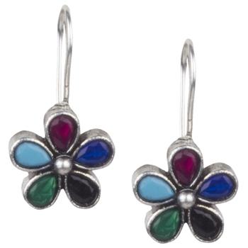 Stunning Oxidised Silver Multicolour Beaded  Brass Earring For Women & Girls