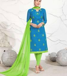 Sky-blue embroidered chanderi salwar
