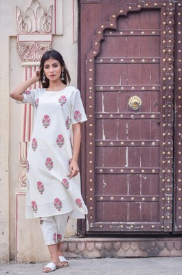 White Kurta with ankle length Pants