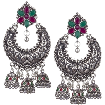 Divine Oxidised Silver With Green & Pink Beaded Dangling Earring For Women & Girls