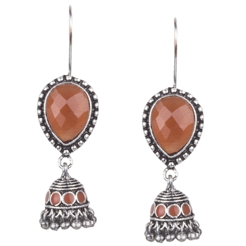Admirable Oxidised Silver Orange Turquoise Stone With Beaded Dangling Earring For Women & Girls