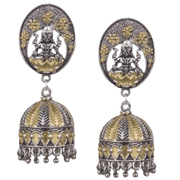 Silver Plated Mahalakshmi Handmade  Brass Jhumki Earring For Woman