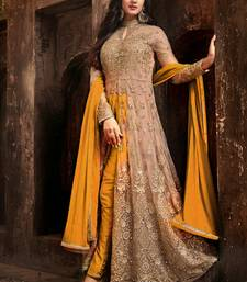 Beige embroidered net salwar anarkali-salwar-kameez