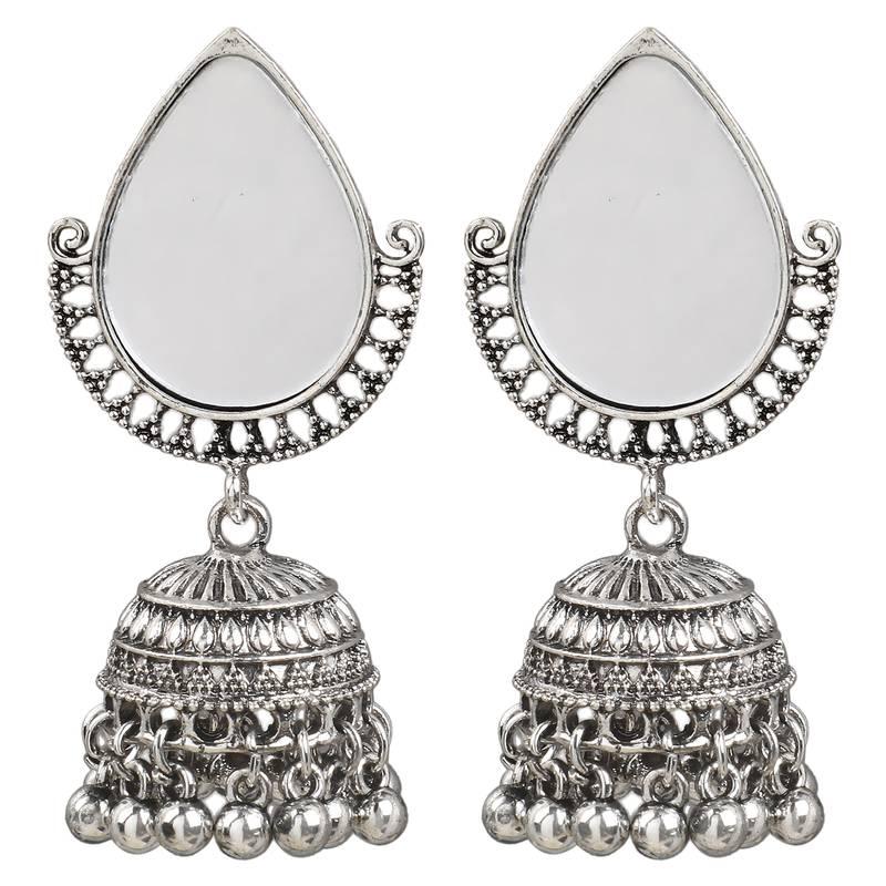 Single mirror (1 pair) oxidised silver earrings alloy chandbali earring  alloy dangle earring for girls and women