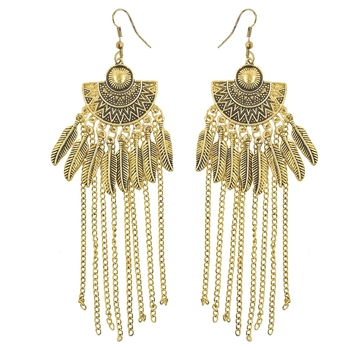 Oxidized Gold Plated Corrode Collection Earrings In Vintage Finish Alloy Dangle Earring For Girl/Women