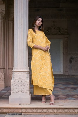 Yellow plain cotton kurta