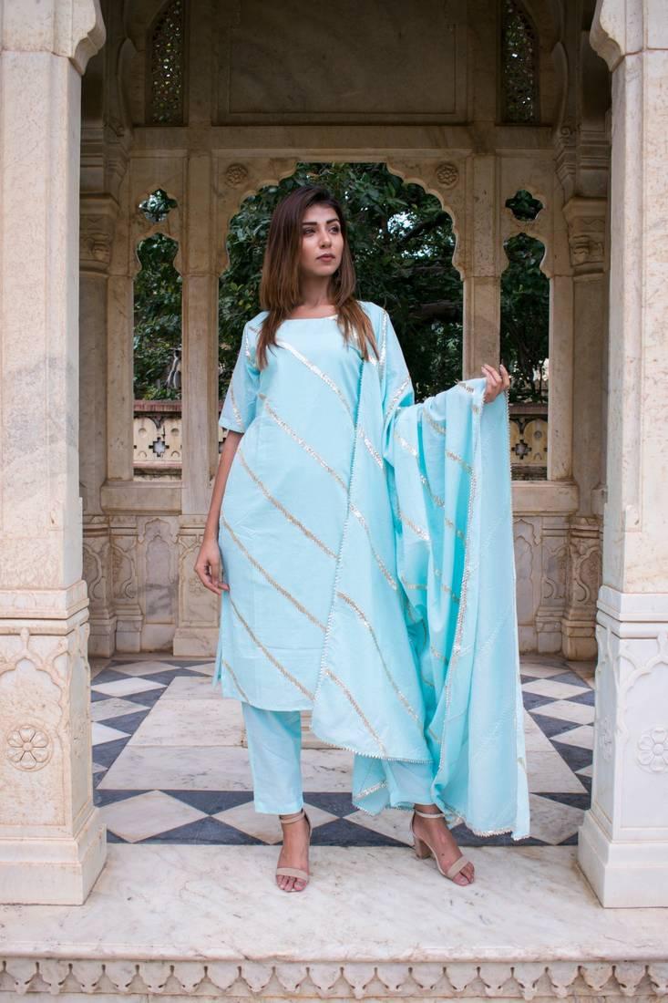 Designer Hand Embroidery Gota Work Kurta and Sharara With Dupatta Set For Women and Girls  Designer Kurti Set  Kurti Pant Set  Free Shipping