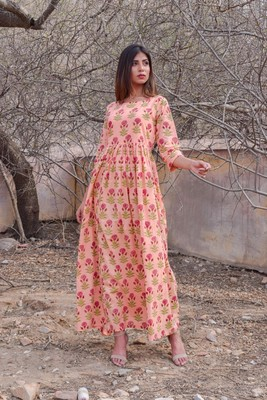 Peach printed cotton kurta
