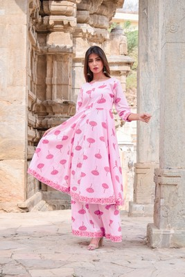Light-pink printed cotton kurta sets