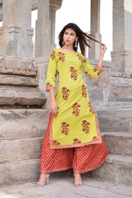 Light-green printed cotton kurta sets